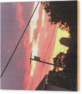 Sunrise Behind Cliffs Shaft Wood Print