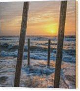 Sunrise Between The Pillars Landscape Photograph Wood Print