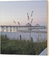 Sunrise Beyond Pier Wood Print