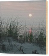 Sunrise Beyond The Sea Grass Wood Print