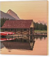 Sunrise Boat House Wood Print