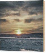 Sunrise Boat Wood Print