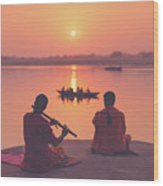 Sunrise By The Ganges Wood Print