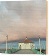 Sunrise Drama - Manhattan Beach Pier Wood Print