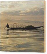 Sunrise Fisherman Wood Print