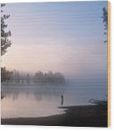 Sunrise Fishing In The Yellowstone River Wood Print