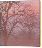 Sunrise Fog Wood Print