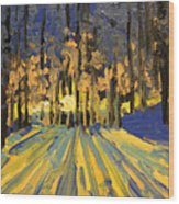 Sunrise Forest Modern Impressionist Landscape Painting  Wood Print