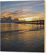 Sunrise Fort Clinch Pier Wood Print