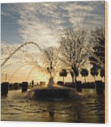 Sunrise Fountain II Wood Print by Tom Rickborn