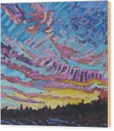 Sunrise Freezing Rain Deformation Zone Wood Print by Phil Chadwick