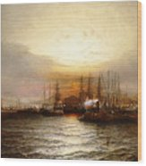 Sunrise From Chapman Dock And Old Brooklyn Navy Yard, East River, New York Wood Print