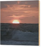 Sunrise From The Waves Wood Print