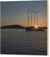 Sunrise In Bar Harbor Wood Print