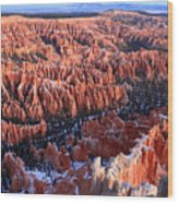 Sunrise In Bryce Canyon Amphitheater Wood Print