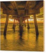 Sunrise In Ft Lauderdale Pier Wood Print