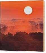 Sunrise In Hocking State Forest Wood Print