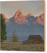 Sunrise In Jackson Hole Wood Print