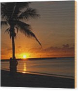 Sunrise In Key West Fl Wood Print