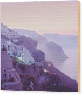 Sunrise In Oia Wood Print