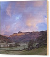 Sunrise In The Langdale Valley, Lake District, England. Wood Print