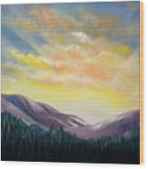 Sunrise In The Mountains Wood Print