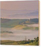 Sunrise In The Tuscany Wood Print