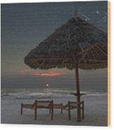 Sunrise In Tropical Beach Of Zanzibar With Starry Sky Wood Print