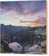 Sunrise Into The Lake Wood Print