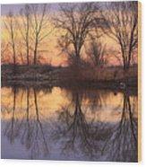 Sunrise Lake Reflections Wood Print