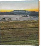Sunrise Landscape Over Morganton Town In  North Carolina  Wood Print