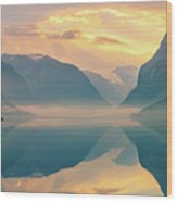 Sunrise Lovatnet, Norway Wood Print
