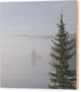 Sunrise Mist Lingers On The Lake Wood Print