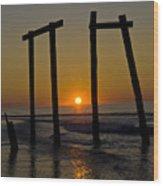 Sunrise At Ocean City Wood Print