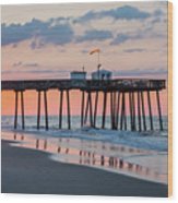Sunrise Ocean City Fishing Pier Wood Print