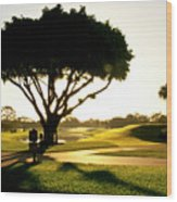 Sunrise On A Golf Course Wood Print