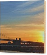 Sunrise On Ben Franklin Bridge Wood Print