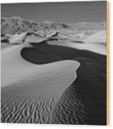 2a6856-bw-sunrise On Death Valley  Wood Print