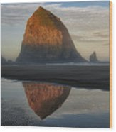 Sunrise On Haystack Rock - Oregon Wood Print