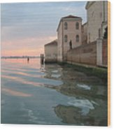 Sunrise On Isola Di San Clemente Venice Wood Print by Harry Mason