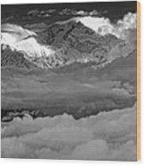 Sunrise On Kanchenjunga Bw Wood Print