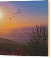 Sunrise On The Blue Ridge  Wood Print