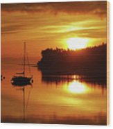 Sunrise On The Cove Wood Print