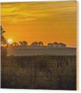 Sunrise On The Farm Wood Print