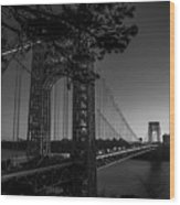 Sunrise On The Gwb, Nyc - Bw Landscape Wood Print