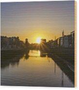 Sunrise On The Liffey River - Dublin Ireland Wood Print