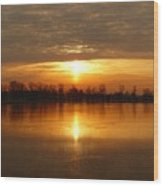 Sunrise On The Pecatonica River Wood Print