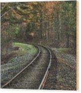 Sunrise On The Rails Wood Print
