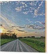 Sunrise On The Road Wood Print
