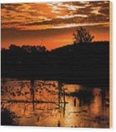 Sunrise Over A Pond Wood Print